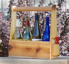 Handcrafted Four Bottle Wine Carrier by Meriwether | Meriwether of Montana