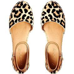 ALDO Zanca Leopard Print Strap Espadrille Flat Shoes found on Polyvore