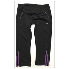 Adidas CLIMALITE Capris size Large Adidas CLIMALITE Capris with purple detailing. Length is about mid-calf with purple piping at the hip, classic Adidas triple stripe at the hem of each leg, and a sewn gusset for comfort. Women's size Large - Fits true to size! Excellent pre-owned condition. Make an offer today! Adidas Pants Capris