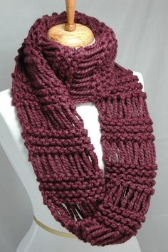 Knitting Patterns Scarf Fig Purple Knit Scarf Chunky Scarf Hand Knit Infinity by PhylPhil Crochet Scarves, Knit Crochet, Crochet Hats, Loom Knitting Stitches, Hand Knitting, Knitting Patterns, Knitted Poncho, Knit Cowl, Scarf Knit