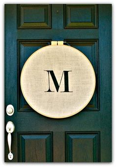 Embroidery Hoop Monogram Door Hanging///