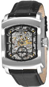 Stuhrling Original Men's 317.33151 Classic Metropolis Midtown Banker Mechanical Skeleton Black Watch Stuhrling Original. $94.99. Water-resistant to 50 M (165 feet). Protective krysterna crystal on front and back. Black alligator embossed genuine French leather strap with silver tone buckle. Polished stainless steel rectangular case with brush finished bezel and knurl edge crown. Skeleton dial with applied baton style markers and seconds subdial with luminous filled ...