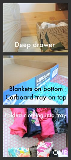 use cardboard tray /box from sam's /costco to stack items in dresser drawers (blankets under and shirts on top)