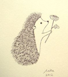 Cute Hedgehog Flower Ink Drawing Print Ivory White Black Woodland Love Illustration 4x6 MiKa Art