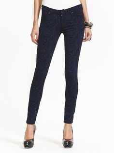 7 For All Mankind Skinny Blue Black Brocade Jean | Just Jeans