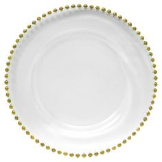 Add a touch of glam to your tablescape with this white charger plate, featuring gold-hued beaded trim.     Product: Charger p...