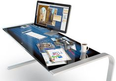 An iPad-Like Desk incorporating both #Microsoft and #Apple technology - only a dream! #ipad #mac #tech #desk
