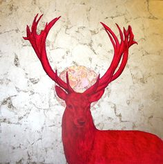 'Wild Magnificence', #acrylic, #pencil and #gold leaf on #canvas 100x100cm #stag #art #painting available @DegreeArt  by Louise McNaught (www.louisemcnaught.com)