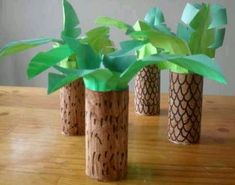 Make trees from toilet paper rolls | dinosaur unit of work craft ideas