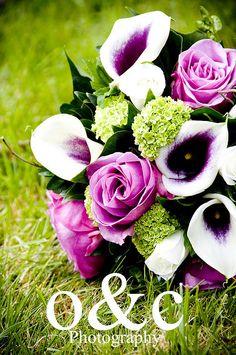 Calla Lillies & Rose Bouquet. Love the color scheme