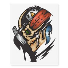 Cyborg Skull Attack Temporary Tattoos