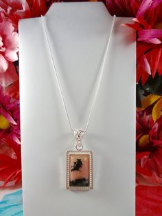 STERLING SILVER GENUINE Rose Opal Necklace - Sterling Silver Snake Rope Chain with a 18KGP Sterling Silver Rectangle Opal Pendant Necklace by ChrysalisCrystalGems on Etsy