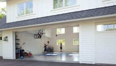 Family Installs a Sport-Court Garage in Chanhassen - Idea-To-Steal_Garage-Sport-Court_Interior - House Plans, Indoor Sports Court, Remodel, New Homes, House, Garage Decor, House Interior, Garage Remodel, Home Basketball Court