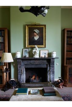 Library Fireplace - Classical proportions and traditional furnishings combine making this Cornish family home the ideal acquisition - real homes on HOUSE by House & Garden. Best Picture For fireplace Library Fireplace, Cabin Fireplace, Fireplace Seating, Fireplace Bookshelves, Fireplace Garden, Fireplace Cover, Fireplace Built Ins, Victorian Fireplace, Farmhouse Fireplace