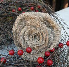 Rustic burlap rose.