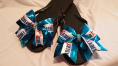 Cheer Bow Flip Flops with Bling! Great Gift for Cheerleaders, Teams. Cheer Coaches and Moms! Choose Your Colors! Flip Colors & Base Ribbons! on Etsy, $14.99