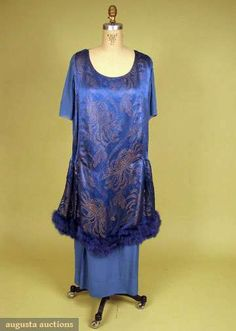 Blue & Gold Lame Evening Gown, C. 1919, Augusta Auctions, May 2008 Vintage Fashion & Antique Textile Sale, Lot 696