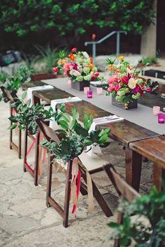 Garden Wedding at the Lady Bird Johnson Wildflower Center in ATX. Bold Garden Flower Arrangements in Wooden Boxes | photography by http://jnicholsphoto.com/