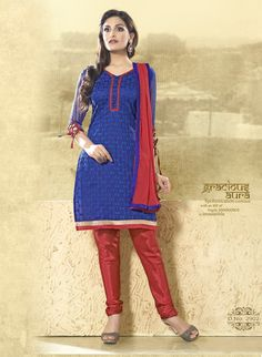Blue and red beautiful #designer #salwarkameez comes with red chiffon dupatta.