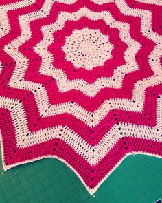"""Figured out a way to block this beast. #crochet #hooker #stylecraftspecialdk #babybkanket #ripple #blocking"""