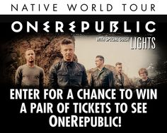 I just entered for a chance to win tickets to OneRepublic's Native Tour!