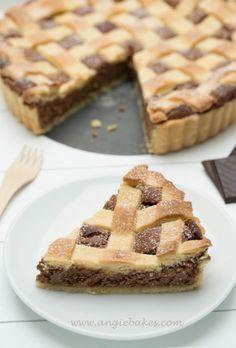 Mriežkový tvarohovo-čokoládový koláč Sweet Recipes, Waffles, Pie, Cookies, Breakfast, Desserts, Food, Torte, Crack Crackers