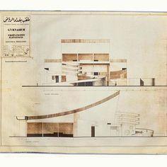 Ce dessin daté du 24 juin 1964 signé Le Corbusier représente la version achevée de la façade principale et de la façade latérale du gymnase de Bagdad.