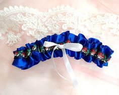 Something Navy Royal Blue Silk Satin Floral Boho Hippie Bow Wedding Garter, Prom Bridal Lingerie Keepsake Toss Simple Ruffles