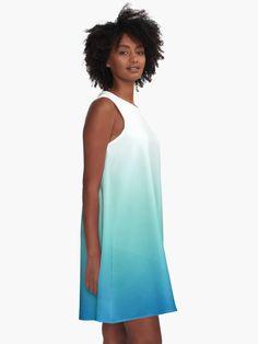 """Light Blue Ombre"" A-Line Dress by ind3finite   Redbubble Gradient Design, Gradient Color, Teal Ombre, Coral Pink, Aqua, Turquoise, Pretty Pastel, Chiffon Tops, Designer Dresses"