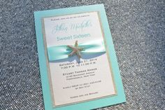 Blue and Gold Sweet 16 Invitation, Glitter, Starfish, Bat Mitzvah, Beach,