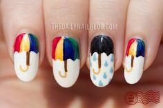 Nail Art paraguas colores