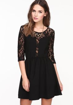 Black Lace Half Sleeve Pleated Skater Dress - Sheinside.com