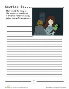 halloween writing worksheets for kids   Halloween Fourth Grade Composition Worksheets: Halloween Nutcracker
