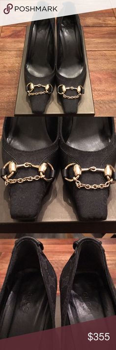 Gucci GG Monogram Canvas Square Toe Heels Like New! Only worn twice INSIDE! Pristine condition  Authentic!  Gucci Black GG canvas  square-toe pumps with black leather trim, gold-tone Horsebit embellishments at tops featuring additional chain-link embellishments, tonal stitching throughout and stacked heels. Size 7.5 Make an offer today! Gucci Shoes Heels
