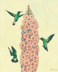 Hummingbirds by GreensofJune on Etsy