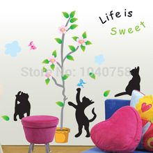 Flower Pots Plants Tree Wall Decals for Kids Room, Cat Wall Sticker Home Decoration Wall Art Wallpaper Kids Sweet Life Quotes