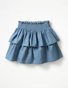 Buy the Ruffly Denim Skirt now for Frock Design, Ladies Dress Design, Baby Girl Dress Patterns, Dresses Kids Girl, Baby Skirt, Baby Dress, Ruffle Skirt, Denim Skirt Outfit Winter, How To Make Skirt