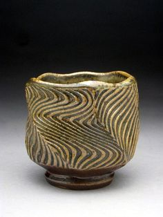 Woodfired Faceted Yunomi With Expressive by jeffbrownpottery