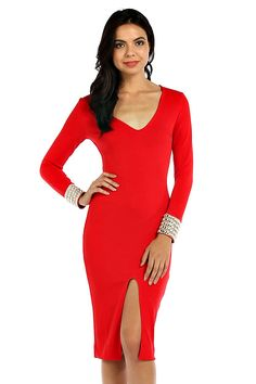 EMBELLISHED CUFF ACCENT SOLID KNIT BODYCON DRESS $22.25  Wholesale Fashion Place .com