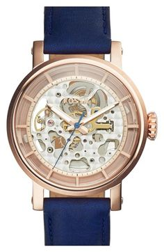 Fossil+'Boyfriend'+Skeleton+Dial+Leather+Strap+Watch,+38mm+available+at+#Nordstrom