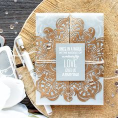 Simon Says Stamp | Love Gives Us a Fairytale - Heat Embossed Lace Card