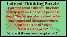 Out of Box Thinking Riddles for Teens with Answers Hard Puzzles, Logic Puzzles, Puzzles For Kids, Picture Puzzles Brain Teasers, Brain Teaser Puzzles, Lateral Thinking Puzzles, Fun Brain, Riddles, Improve Yourself