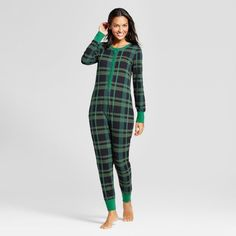 Women's Pajama Union Suit Green Plaid - Hearth & Hand™ with Magnolia : Target