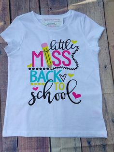 Girls Little Miss Back to School Shirt Girl's School Shirt Shirt First Day of School Shirt Children's Clothes Cute Kid's Shirt School Shirt Designs, School Shirts, Teacher Shirts, Kindergarten Shirts, Kindergarten First Day, Diy Kids Shirts, Shirts For Girls, Long Shirt Outfits, Kids Outfits