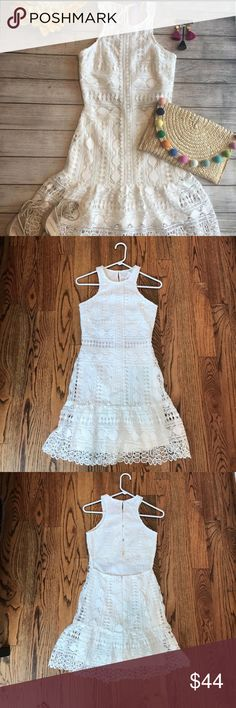 Pretty crochet lace dress Open back ivory lace dress. Worn once for my bridal shower and dry cleaned immediately afterwards. Got so many compliments and felt so pretty in it! Great dress! Soieblu Dresses Midi