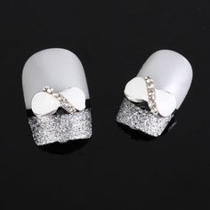 3D Alloy Bow Tie Nail Art stickers Rhinestones DIY Handmade & Nails Decoration white https://www.etsy.com/listing/127554398/