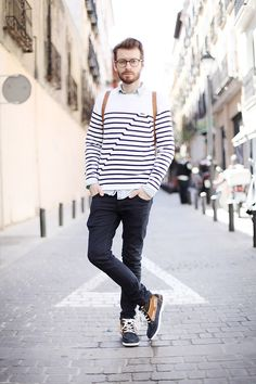 5bff282497 Want to wear stripes  Start with a navy and white horizontal stripe sweater  and wear with chinos. Check out our collection of horizontal stripe outfits  for ...