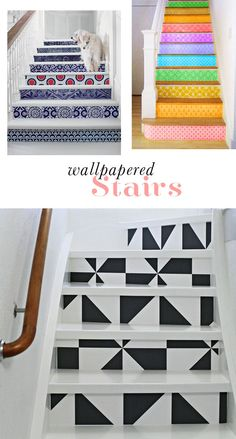 Wallpapered stairs--use removable wallpaper