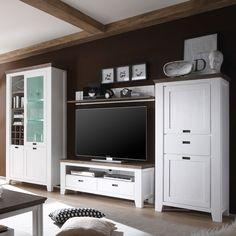 Landhaus Wohnwand Ancona in Weiß Grau aus Fichte (3-teilig ...