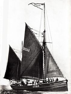 """World War 1: Sailing Craft versus the U-Boots. The relentless pace of duty for these ships can be illustrated by reference to the armed Lowestoft smack """"Telesia"""".  No less than six fishing craft had been boarded and sunk by explosive charges early in March 1916 and the Telesia's crew was inevitably alert. On March 23rd 1916 the """"Telesia"""" was simulating trawling some 35 miles E.E. of Lowestoft. A U-Boat approached at 1330 hrs, made a cautious inspection, and came within fifty feet of her bows"""